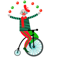 Clown juggling on a bicycle.
