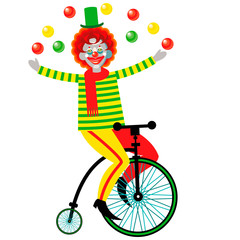 Funny clown juggling on a bicycle.