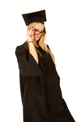 female model graduate peering over her glasses
