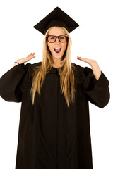 fun expression of female model in graduate attire