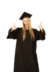 female model in graduate cap and gown with a fun expression