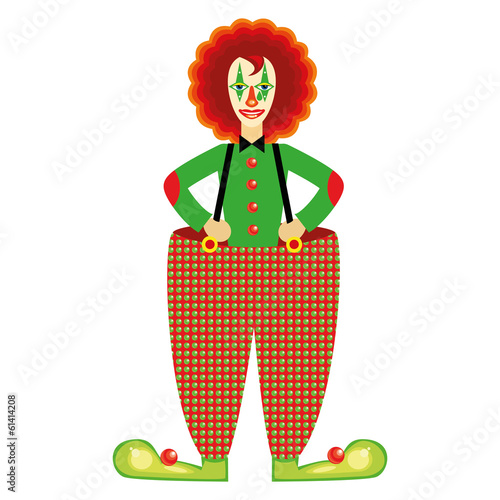 Red clown on a white background.