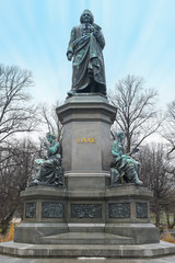 Carl Linnaeus Monument in Humlegarden waiting for spring