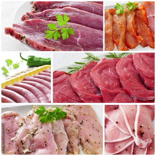 raw meat collage