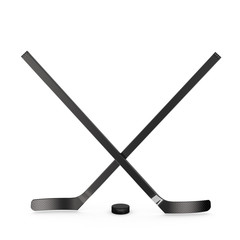 Ice hockey sticks and puck, 3d