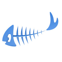 Blue fish bone, 3d illustration