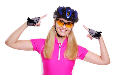 cyclist girl   pointing to the helmet  closeup white background
