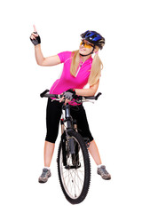 cyclist girl holding the bicycle full length pointing finger