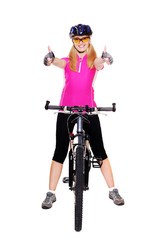 cyclist girl holding the bicycle  full length showing thumbs up