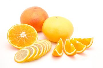 Fruit combination, orange lemon and grapefruit