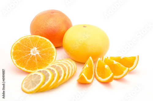 Fruit combination, orange lemon and grapefruit