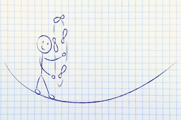 balancing and managing responsibilities: funny character jugglin