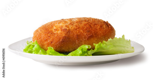 Chicken cutlet on the white plate