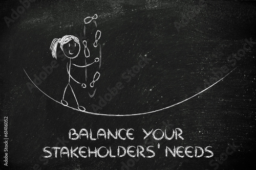balancing and managing stakeholders' needs: funny girl juggling