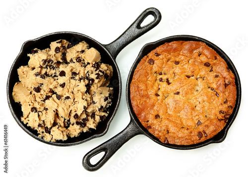 Gluten Free Chocolate Chip Skillet Cookie Before and After