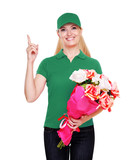 Flowers delivery girl in green uniform