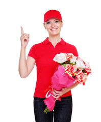 Flowers delivery girl making information gesture