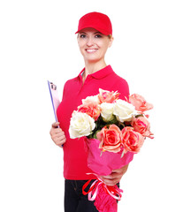 Delivery girl presenting flowers