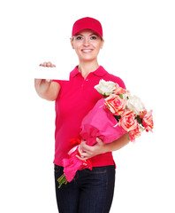 Delivery girl with flowers and card