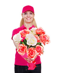 Delivery girl with flowers