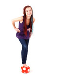 teenage woman with ball, white background
