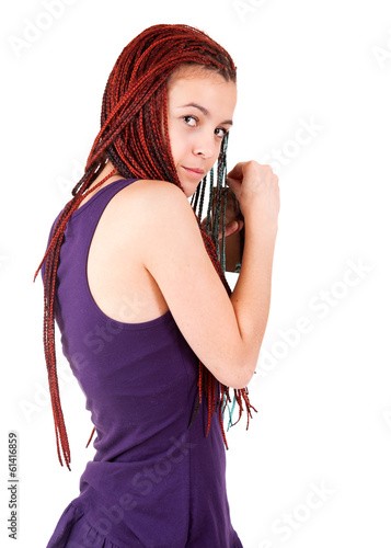 teen girl with alcohol, white background