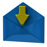 Blue envelope and yellow arrow