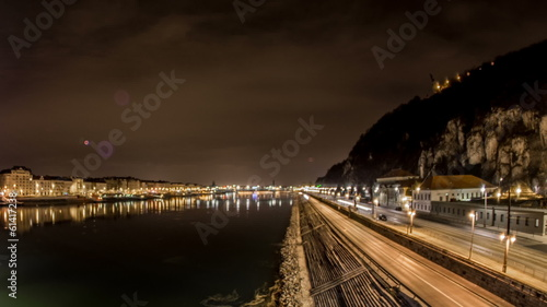 Budapest Danuber river edge night time lapse