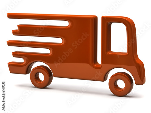 Illustration of fast delivery orange truck isolated on white