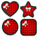 Red Polka Dot Sewing Patches Set