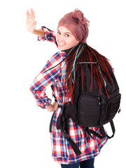 young girl with backpack ready to travel