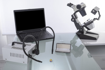 Gemologist and microscope