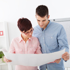 Young couple planing new home