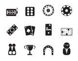 Silhouette gambling and casino Icons - vector icon set