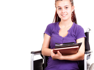 teen woman on wheelchair, white background