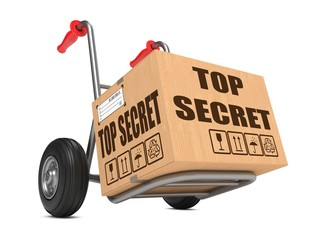 Top Secret - Cardboard Box on Hand Truck.