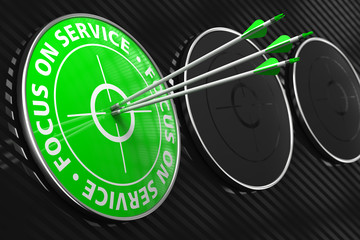Focus on Service Slogan - Green Target.