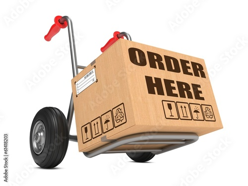 Order Here - Cardboard Box on Hand Truck.