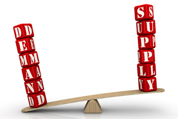 DEMAND and SUPPLY. Words on the scales