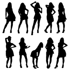 silhouettes of young girls