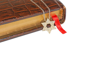 Jewish Star of David necklace,old brown leather prayer book.