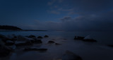 Night view of rocky ocean coast