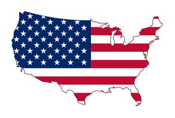 America flag map