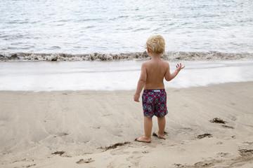 Niño rubio observando el mar