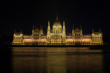 Hungarian Parliament at night  in Budapest
