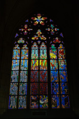 Stained glass in the St. Vitus Cathedral in Prague.