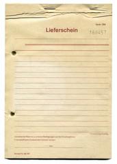 Papier Lieferschein Vintage