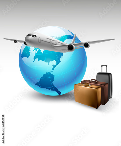 Background with airplane and globe. Travel concept. Vector