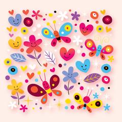 butterflies, hearts & flowers