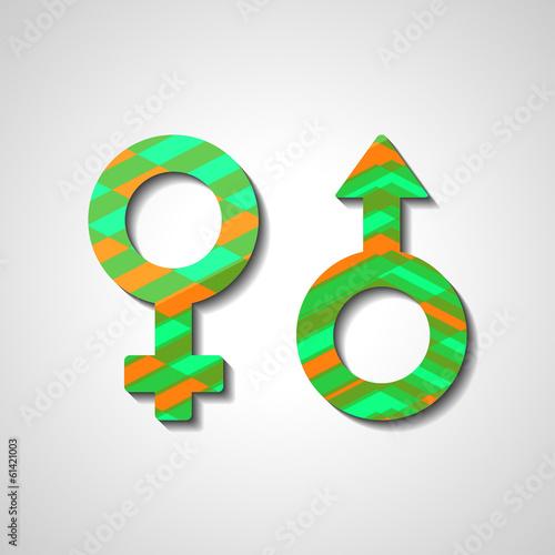 Male and female gender symbols, style illustration